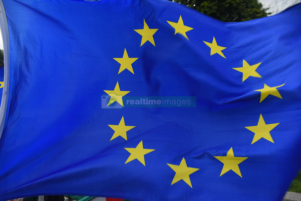 September 11, 2017 - London, United Kingdom - European flags waves outside the Houses of Parliament in London on September 11, 2017. The Parliament is voting the Brexit repeal bill, as a new step of the process of leaving the European Union, after the referendum of 2016. (Credit Image: © Alberto Pezzali/NurPhoto via ZUMA Press)