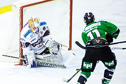 05.10.2014, Hala Tivoli, Ljubljana, SLO, EBEL, HDD Telemach Olimpija Ljubljana vs Fehervar AV19, 8. Runde, in picture Ziga Pesut (HDD Telemach Olimpija, #11) vs Miklos Ranja (Fehervar AV19, #31) during the Erste Bank Icehockey League 8. Round between HDD Telemach Olimpija Ljubljana and Fehervar AV19 at the Hala Tivoli, Ljubljana, Slovenia on 2014/10/05. Photo by Matic Klansek Velej / Sportida