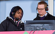 Maggie Alphonsi and Nick Heath commentating on the match, England Women v Italy Women in Women's 6 Nations Match at Twickenham Stoop, Twickenham, England, on 15th February 2015. Final score 39-7.