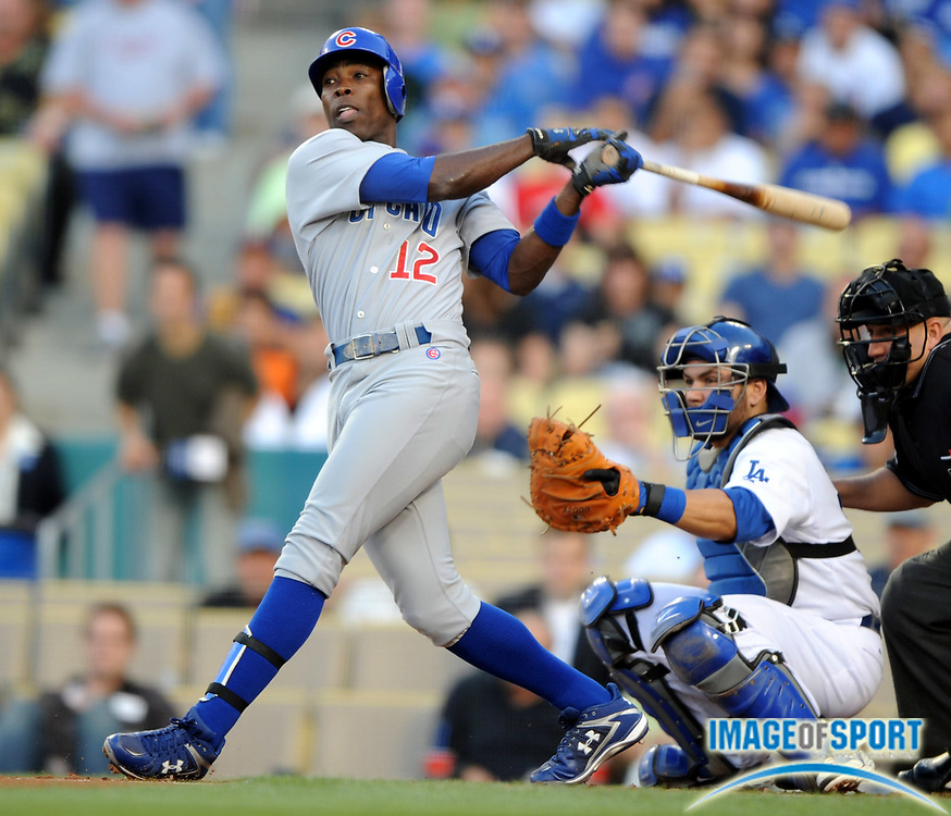 June 2, 2008; Los Angeles, CA, USA; Chicago Cubs left fielder Alfonso Soriano (12) bats during 5-4 victory over the Los Angeles Dodgers at Dodger Stadium.