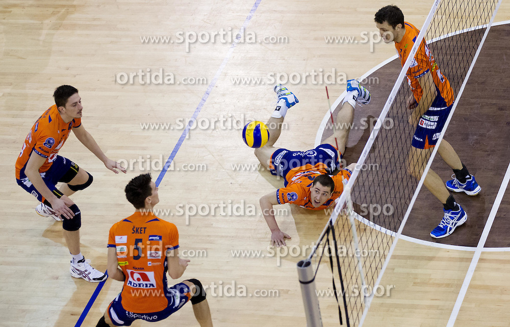 Dejan Vincic, Alen Sket, Andrej Flajs and Matej Vidic during volleyball match between ACH Volley (SLO) and Knack Roeselare (BEL) at Quarterfinals of CEV Challenge Cup 2011/2012, on February 8, 2012 in Arena Tivoli, Ljubljana, Slovenia. ACH Volley defeated Knack Roeselare  3-0. (Photo By Vid Ponikvar / Sportida.com)