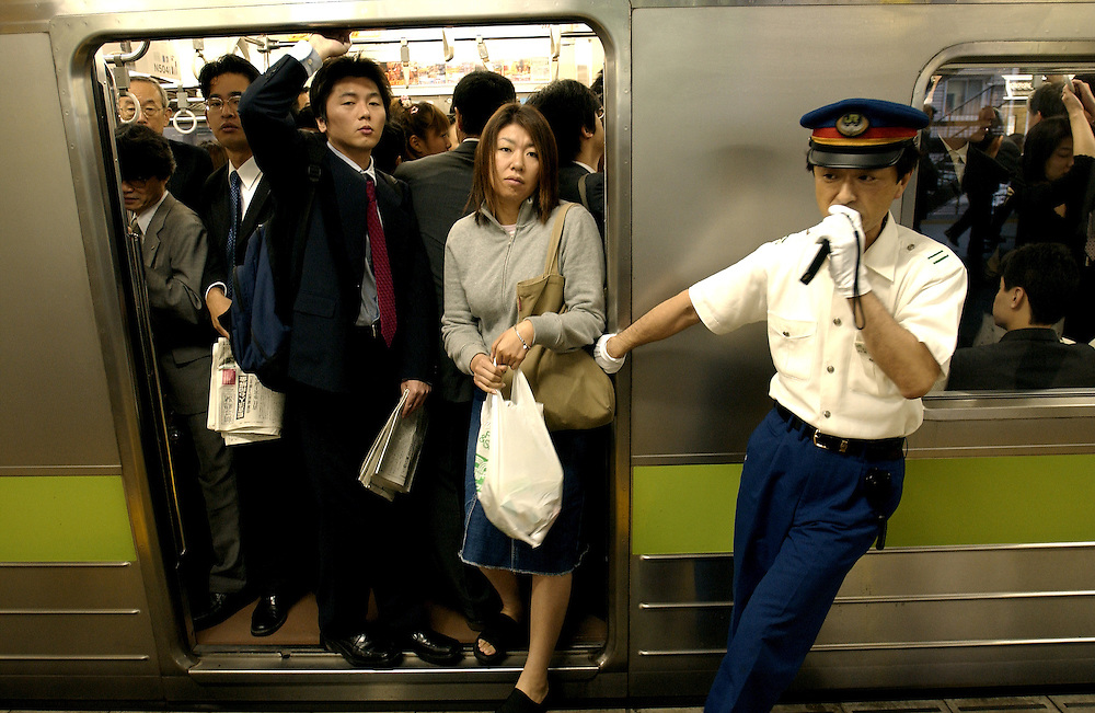 Tokyo's highly efficient train service. Japan June 2002..©David Dare Parker/AsiaWorks Photography