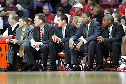 05 January 2008:  The 2007-08 Redbird coaches sit patiently on the bench. The Redbirds of Illinois State took the bite out of the Salukis of Southern Illinois winning the Conference home opener for the 'birds on Doug Collins Court in Redbird Arena in Normal Illinois by a score of 56-47.