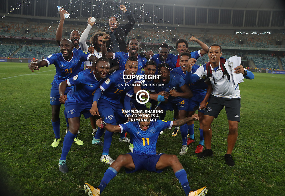 Cape Verde players celebrating the win during the 2018 Football World Cup qualifier  match between South Africa (Bafana Bafana)  and Cape Verde Islands,at the Moses Mabhida Stadium in Durban South Africa Tuesday, September 5,2017.  (Photo by Steve Haag)