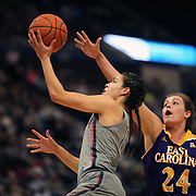 HARTFORD, CONNECTICUT- JANUARY 4: Kia Nurse #11 of the Connecticut Huskies drives to the basket defended by Kristen Gaffney #24 of the East Carolina Lady Pirates during the UConn Huskies Vs East Carolina Pirates, NCAA Women's Basketball game on January 4th, 2017 at the XL Center, Hartford, Connecticut. (Photo by Tim Clayton/Corbis via Getty Images)