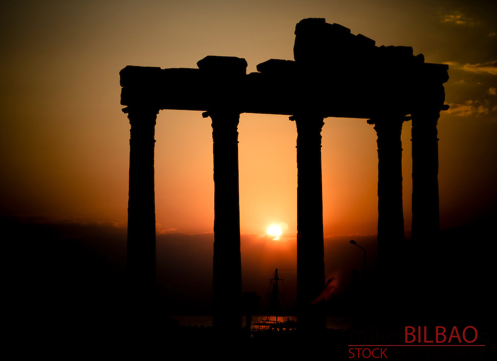 Temple of Apollo at sunset. Side ancient city. Province of Antalya. Mediterranean coast. Turkey