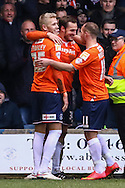 Luke Wilkinson of Luton Town (2nd left) scores his team's second goal against Cambridge United to make it 2-0 during the Sky Bet League 2 match at Kenilworth Road, Luton<br /> Picture by David Horn/Focus Images Ltd +44 7545 970036<br /> 31/01/2015