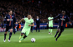 Sergio Aguero of Manchester City runs with ball - Mandatory by-line: Robbie Stephenson/JMP - 06/04/2016 - FOOTBALL - Parc des Princes - Paris,  - Paris Saint-Germain v Manchester City - UEFA Champions League Quarter Finals First Leg