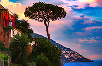 &ldquo;Pine tree rises to the sky as the sun sets over the cliffs of Positano&rdquo;&hellip;<br />