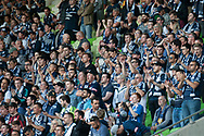 Victory fans cheer on at the Hyundai A-League Round 4 soccer match between Melbourne Victory and Central Coast Mariners at AAMI Park in Melbourne.