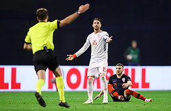 Sergio Ramos of Spain after he faulted Ante Rebic of Croatia during the UEFA Nations League football match between Croatia and Spain, on November 15, 2018, at the Maksimir Stadium in Zagreb, Croatia. Photo by Morgan Kristan / Sportida
