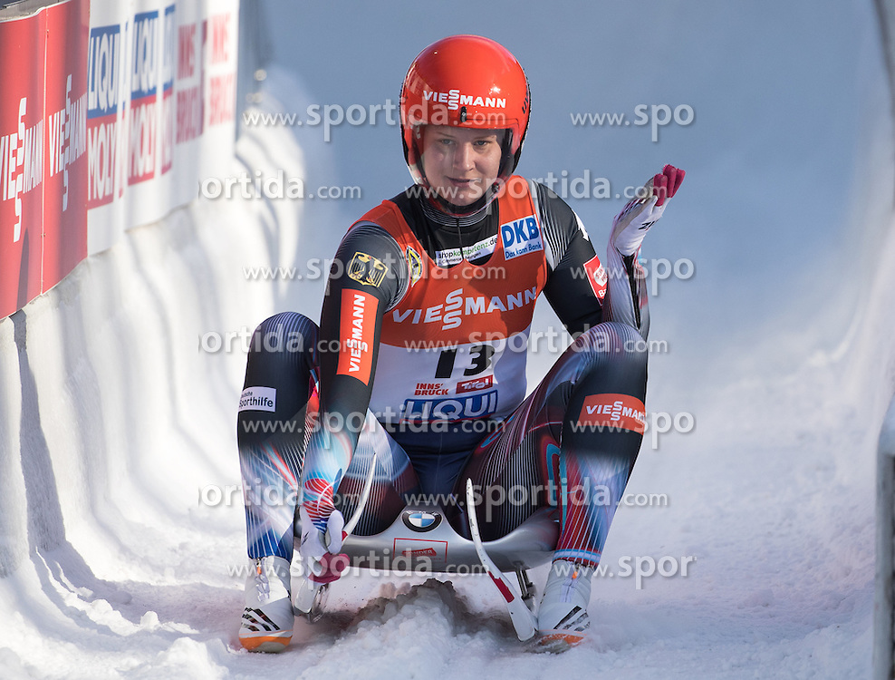 28.01.2017, Olympia Eisbahn, Igls, AUT, FIL Rennrodel WM 2017, Igls, Damen Einsitzer, 2. Lauf, im Bild Dajana Eitberger (GER) // Dajana Eitberger of Germany reacts after her 2nd run of women's single seater competition of 2017 Luge World Championship at the Olympia Eisbahn in Igls, Austria on 2017/01/28. EXPA Pictures © 2017, PhotoCredit: EXPA/ Johann Groder