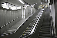 DEU, Germany, Ruhr area, Essen, escalator at the subway station Kaiser-Wilhelm-Park.....DEU, Deutschland, Ruhrgebiet, Essen, Rolltreppe in der U-Bahn Station Kaiser-Wilhelm-Park...2006..[For each usage of my images the General Terms and Conditions are mandatory.]