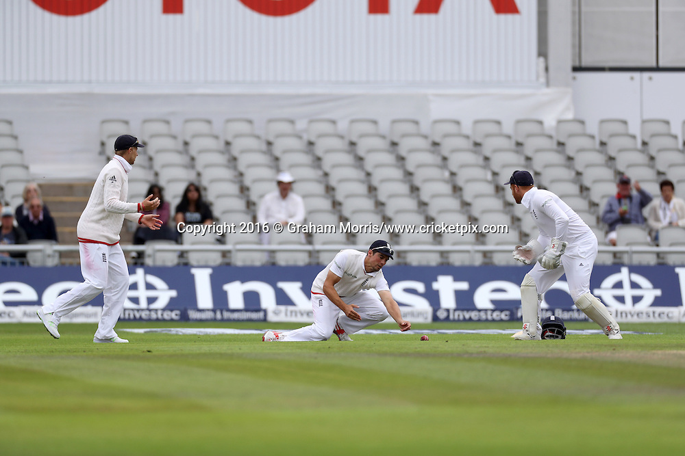 Alastair Cook drops Younis Khan off the bowling of Ben Stokes during the second Investec Test Match between England and Pakistan at Old Trafford, Manchester. Photo: Graham Morris/www.cricketpix.com 25/7/16