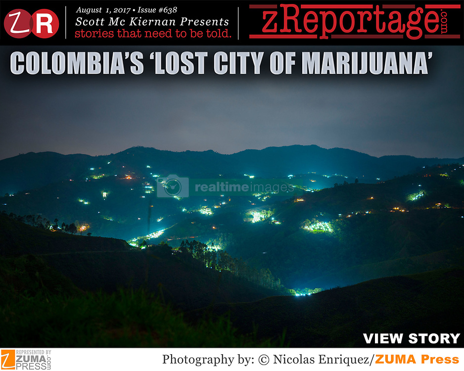 zReportage.com Story of the Week # 638 -  Colombia's 'Lost City Of Marijuana'- Launched August 1, 2017 - Full multimedia experience: audio, stills, text and or video: Go to zReportage.com to see more - In Colombia, a 50 year civil war has wracked the region, between the Colombian army and the Revolutionary Armed Forces of Colombia. The lack of infrastructure, transportation, and basic amenities has led to the only money for many local farmers being fields of cannabis. As the war has left the hills of the Torib?o region in southwestern Colombia, an off-limits zone for authorities, the black market fields have expanded, lighting up the night sky. Now with rebels gone, Colombia is diving into the pot industry. The jungle around Toribio so-called 'lost city of marijuana' is filled with vast pot plantations that stretch as far as the eye can see. At night, the greenhouse lights glow like a sea of bioluminescent plankton. Historically, Colombia has received billions of dollars in American aid to end the drug trade, but now the government has begun giving licenses to some small overseas companies, under a new law that allows the cultivation of medical marijuana in a cannabis cooperative and in turn giving illegal growers a chance to come clean. (Credit Image: ? Nicolas Enriquez/zReportage.com via ZUMA Wire)