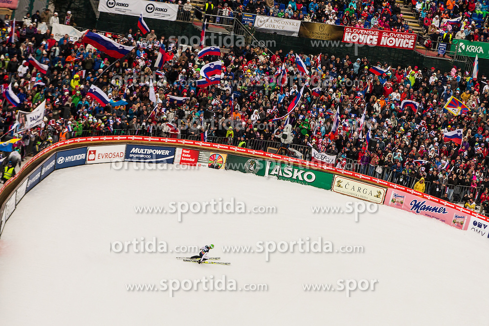 Kranjec Robert of Slovenia and spectators during Large Hill Team Event at 3rd day of FIS Ski Jumping World Cup Finals Planica 2014, on March 22, 2014 in Planica, Slovenia. Photo by Grega Valancic / Sportida