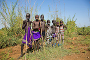 A group of young Mursi boys. Debub Omo Zone, Ethiopia, close to the Sudanese border.
