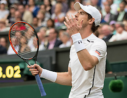 LONDON, ENGLAND - Wednesday, July 6, 2016:   Andy Murray (GBR) during the Gentlemen's Single Quarter Final match on day ten of the Wimbledon Lawn Tennis Championships at the All England Lawn Tennis and Croquet Club. (Pic by Kirsten Holst/Propaganda)