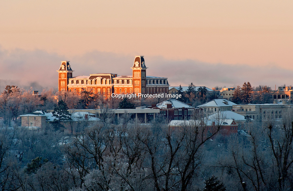Photo for commercial and editorial usage of Old Main at the University of Arkansas on a snowy day in February of 2010.