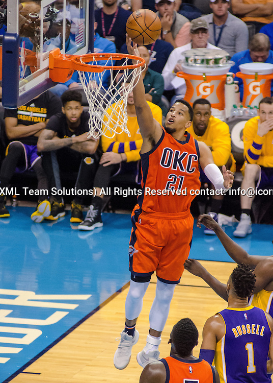 OKLAHOMA CITY, OK - OCTOBER 30:  Oklahoma City Thunder Forward Andre Roberson (21) goes up for two points versus Los Angeles Lakers.  October 30, 2016, at the Chesapeake Energy Arena Oklahoma City, OK. (Photo by Torrey Purvey/Icon Sportswire)
