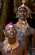 Men of the Samburu dribe dancing. From the Samburtu district, Kenya.