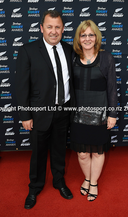 Ian Foster and wife Leigh arrive on the red carpet for the Steinlager Rugby Awards. Viaduct Events Centre. Auckland. Thursday 11 December 2014. Photo: Andrew Cornaga/www.photosport.co.nz