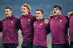 Jonny May, Billy Twelvetrees, George Ford and Rob Webber of England sing the national anthem - Photo mandatory by-line: Patrick Khachfe/JMP - Mobile: 07966 386802 22/11/2014 - SPORT - RUGBY UNION - London - Twickenham Stadium - England v Samoa - QBE Internationals