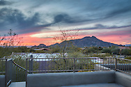 North Scottsdale real estate photography sunset behind Boulders and Black Mountain