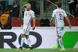 October 8, 2017 - Warsaw, Poland - Kamil Grosicki of Poland celebrates his scoring during the FIFA World Cup 2018 Qualifying Round Group E match between Poland and Montenegro at National Stadium in Warsaw, Poland on October 8, 2017  (Credit Image: © Andrew Surma/NurPhoto via ZUMA Press)