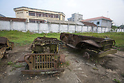History of the battle at Dien Bien Phu Museum. Destroyed French Jeeps.