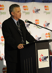 WHL Commissioner and CHL Vice-President Ron Robison at the Canadian Hockey League media conference at the MasterCard Memorial Cup in Brandon, MB on Friday. Photo by Aaron Bell/CHL Images