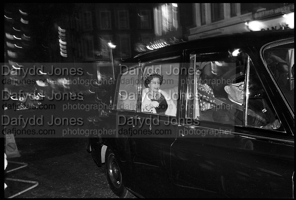 The Queen in London. Shaftesbury ave, London. November 1983.