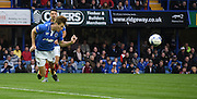 Adam Webster heads clear during the Sky Bet League 2 match between Portsmouth and Mansfield Town at Fratton Park, Portsmouth, England on 24 October 2015. Photo by Michael Hulf.
