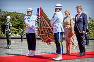 King Willem-Alexander and Queen Maxima of The Netherlands during a wreath laying ceremony at the remembrance field Kalibata in Jakarta, Indonesia, 10 March 2020. The Dutch King and Queen are in Indonesia for their 4 day State Visit. Photo: Robin Utrecht