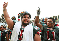 10.07.2011, Tivoli Stadion, Innsbruck, AUT, American Football WM 2011, Group A, Mexico (MEX) vs Australia (AUS), im Bild López Mauricio (Mexico, #1, OL) and Jaimes Luis felipe (Mexico, #11, SS) after the win // during the American Football World Championship 2011 Group A game, Mexico vs Australia, at Tivoli Stadion, Innsbruck, 2011-07-10, EXPA Pictures © 2011, PhotoCredit: EXPA/ T. Haumer