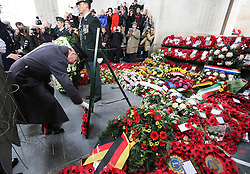 The Duke of Edinburgh lays a wreath  at the Menin Gate in Ypres, Belgium, at a ceremony on Armistice Day to mark the gathering of soil for the Flanders Fields Memorial Garden at the Guards Museum in London, Monday, 11th November 2013. Picture by Stephen Lock / i-Images