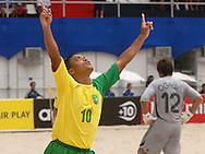 Football-FIFA Beach Soccer World Cup 2006 - Group A-BRA_JPN - Benjamin-Brazil- celebrates his first goal against Japan- Rio de Janeiro - Brazil 05/11/2006<br />Mandatory credit: FIFA/ Marco Antonio Rezende.