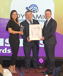 Mayo Business Awards 2018 Micro Business Award was Sponsored by Local Enterprise Office Mayo and Mayo.ie presented to Dynamic Safety Solutions Westport Coral Sheridan and Adrian Maye receiving the award from John Magee.<br />