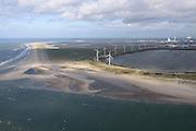 Nederland, Zuid-Holland, Rotterdam, 23-10-2013; zicht op De Slufter en de Tweede Maasvlakte (MV2). Ingezaaid gras tegen het verstuiven.<br /> Dredgings depot Port of Rotterdam with windmills. Newly made land Maasvlakte 2  (MV2) with sown grass against sand-drift.<br /> luchtfoto (toeslag op standard tarieven);<br /> aerial photo (additional fee required);<br /> copyright foto/photo Siebe Swart