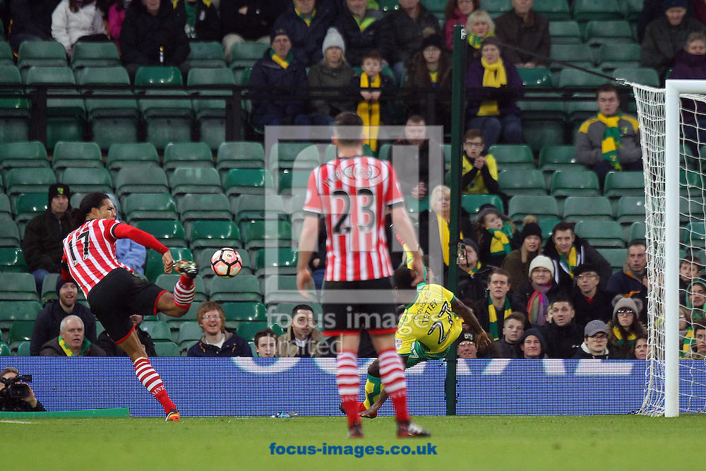 Virgil van Dijk of Southampton scores his sides 1st goal during the third round of the FA Cup at Carrow Road, Norwich<br /> Picture by Paul Chesterton/Focus Images Ltd +44 7904 640267<br /> 07/01/2017