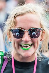 A fan of Rae Morris at the Park Stage. The 2015 Glastonbury Festival, Worthy Farm, Glastonbury.