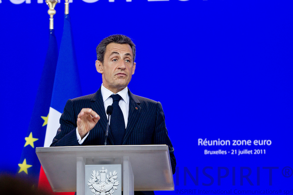 Nicolas Sarkozy, France's president, speaks during news conference after attending a EURO summit of European Union leaders in Brussels, Belgium, on Thursday, July 21, 2011. PHOTO: ERIK LUNTANG / INSPIRIT Photo.