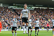 Derby County striker Chris Martin celebrates after scoring during the EFL Sky Bet Championship match between Derby County and Blackburn Rovers at the Pride Park, Derby, England on 8 March 2020.