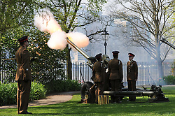 © Licensed to London News Pictures. 21/04/2014<br /> <br /> York, United Kingdom<br /> <br /> Artillery guns from 4th Regiment Royal Artillery fire a salute in the Museum Gardens in York to mark the Queen's 88th birthday. <br /> <br /> Three 105mm light guns from the Topcliffe based regiment fired 21 rounds to mark the occasion.<br /> <br /> Photo credit : Ian Forsyth/LNP