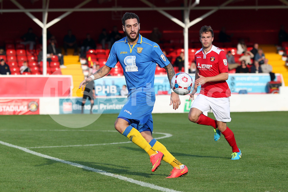 Basingstoke's Liam Enver-Marum in action during the FA Cup 3Q match between Ebbsfleet United v Basingstoke Town, Stonebridge Road, Northfleet, Kent DA11 9GN on 11 October 2014. Photo by Ken Sparks.