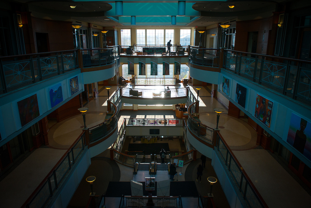 The last bit of light shines into the atrium of Baker Center as the day winds to a close on November 12, 2016.