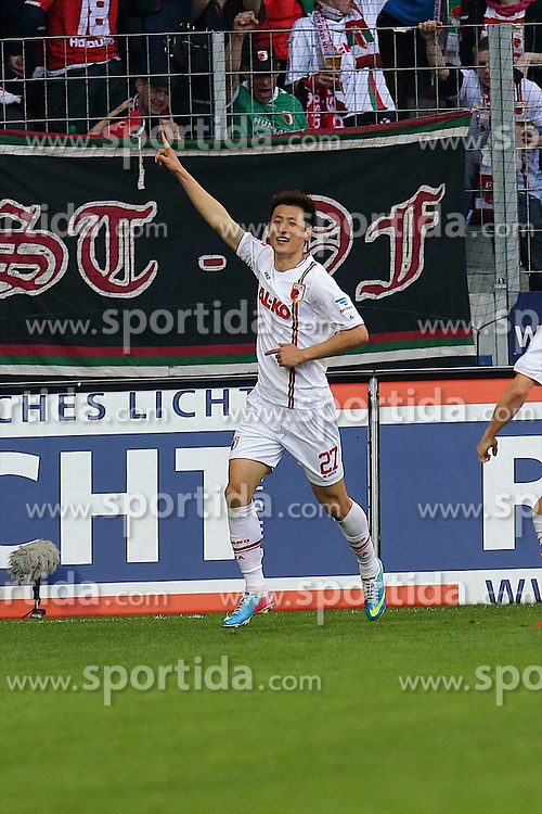 14.04.2013, SGL Arena, Augsburg, GER, 1. FBL, FC Augsburg vs Eintracht Frankfurt, 29. Runde, im Bild Doppeltorschuetze Dong-Won JI (# 27, FC Augsburg) (Freisteller) nach seinem Treffer zum 2:0 // during the German Bundesliga 29th round match between FC Augsburg and Eintracht Frankfurt at the SGL Arena, Augsburg, Germany on 2013/04/14. EXPA Pictures © 2013, PhotoCredit: EXPA/ Eibner/ Peter Fast..***** ATTENTION - OUT OF GER *****