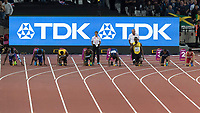 Athletics - 2017 IAAF London World Athletics Championships - Day Two, Evening Session<br /> <br /> Mens 100m Final <br /> <br /> Usain Bolt (Jamaica) crosses himself at the stat line of the 100m final on his last appearance in the World Championship at the London Stadium<br /> <br /> COLORSPORT/DANIEL BEARHAM