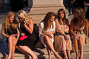 KATHERINE FRANCEY; BEATRICE WARRENDER; EMMA ASKARI; VASSI CHAMBERLAIN; CARMEL SCOTT, Royal Academy of Arts Summer Exhibition Preview Party 2011. Royal Academy. Piccadilly. London. 2 June <br /> <br />  , -DO NOT ARCHIVE-© Copyright Photograph by Dafydd Jones. 248 Clapham Rd. London SW9 0PZ. Tel 0207 820 0771. www.dafjones.com.