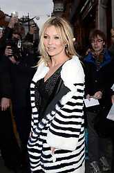 Kate Moss arrives at Bookmarc in Mayfair, London, to do the Playboy Magazine Signing. Monday, 2nd December 2013. Picture by Ben Stevens / i-Images